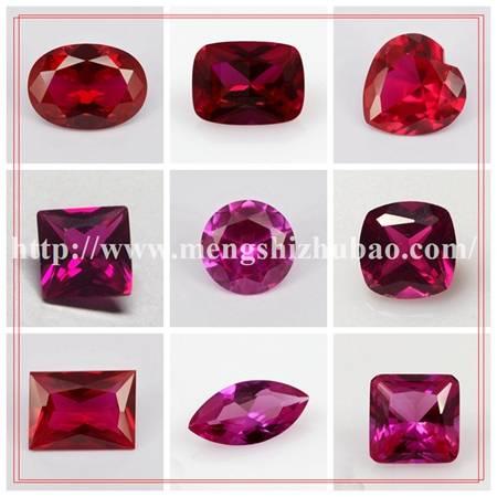 Wuzhou Semi-precious Different Shape Red Ruby 5# synthetic corundum stone