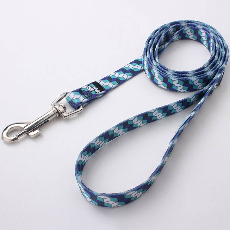Wholesale customized professional polyester dog leash with heat tranfer printed logo
