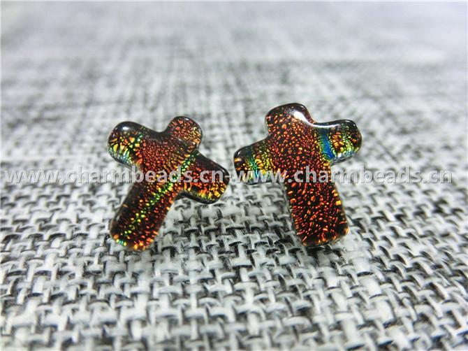 Dichroic Glass Stud Earrings Cross shaped