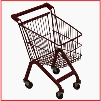60L used European style supermarket shopping trolley