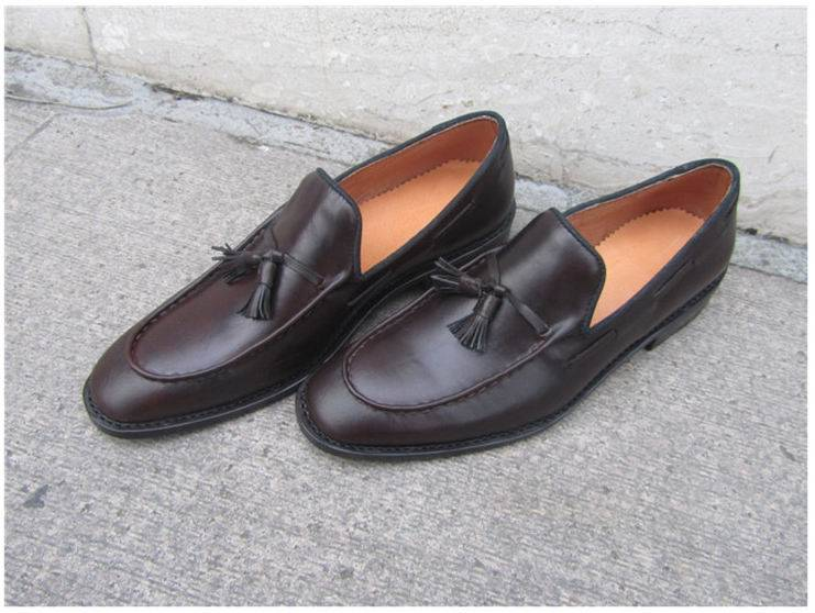 Wine Red Slip On Leather Shoes Oxford Shoes For Men
