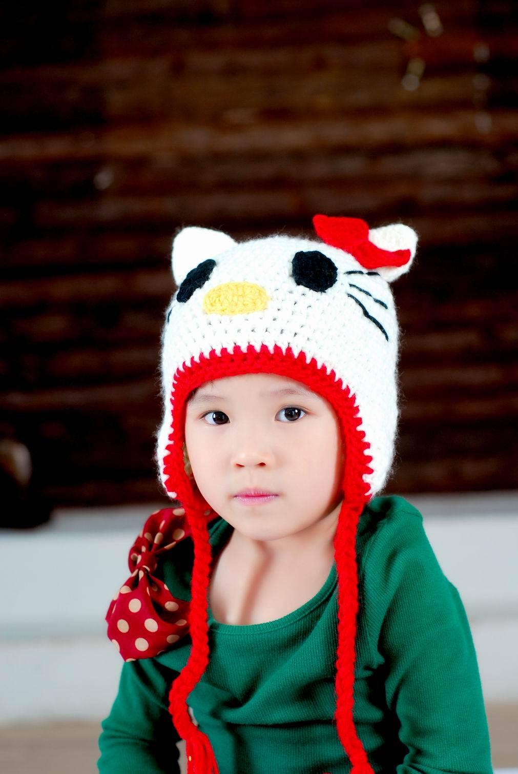 Hand crochet children cartoon hats