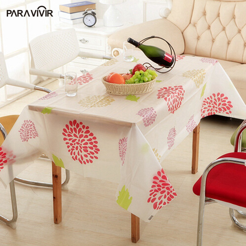 Pastoral PVC Table Cloth Waterproof Floral Printed Table Covers Crystal Frosted Coffee Tablecloths