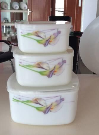 Opal Glass Square Salad Bowl Sets