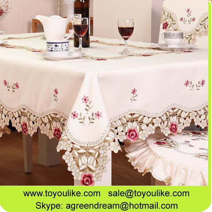 Toyoulike Beige Embroidered Dining Tablecloth Set Chair Cover Table Runner Throw Cushion Cover