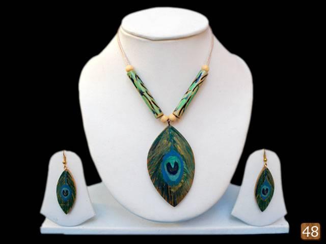 Organic Bamboo Jewelry -Modern Peacock