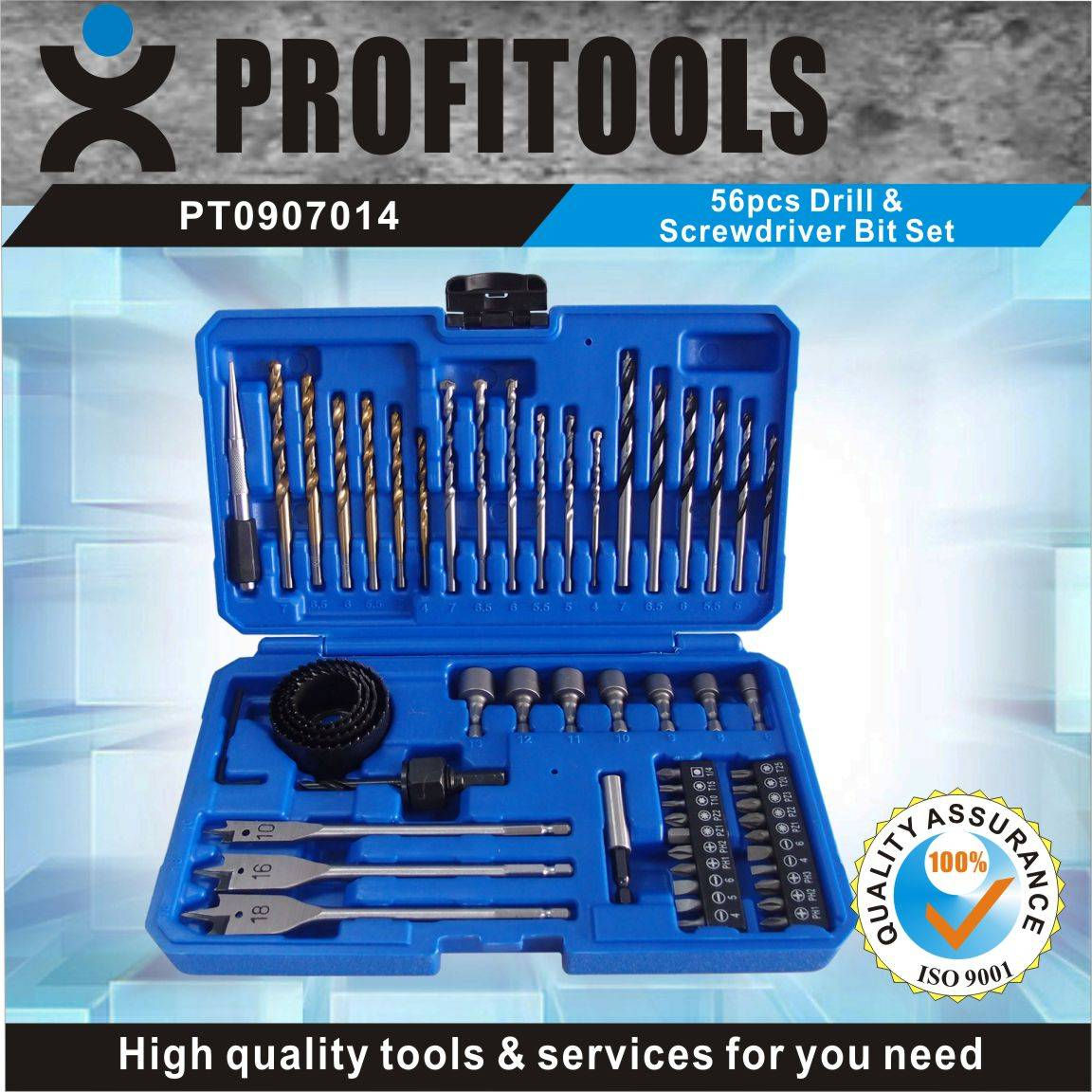 56pcs drill and srewdriver bit set
