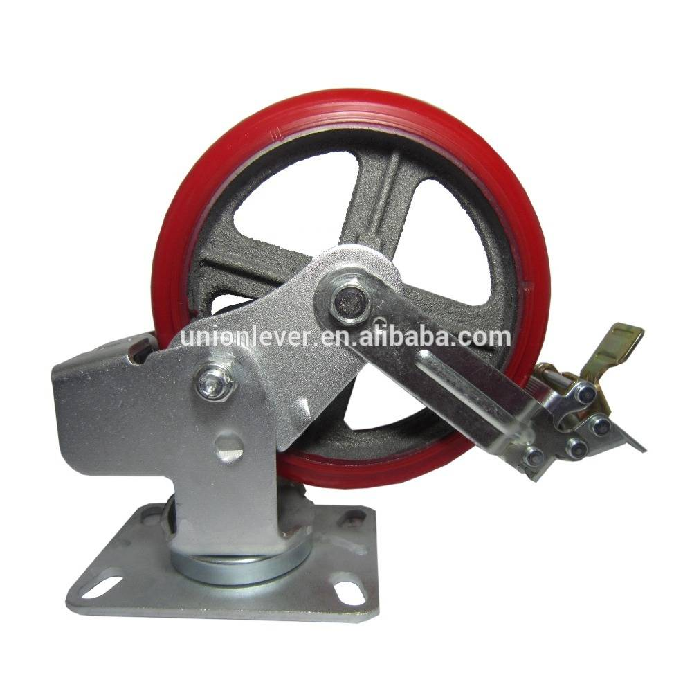 8 inch brake industrial caster with spring