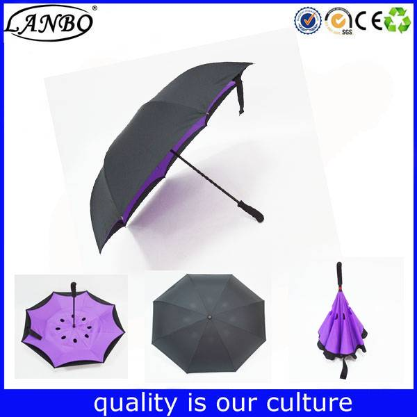 23 inch double layers stand inverted reversible umbrella