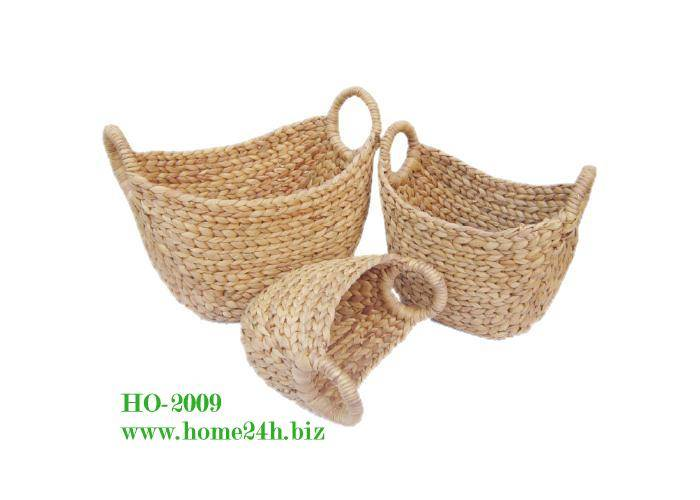 Handmade Water Hyacinth Oval Baskets Storage unframe