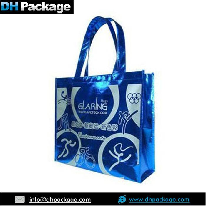 METALLIC FOIL LAMINATION PP NON WOVEN REUSABLE RECYCLED CARRIER BAGS WITH HANDLES