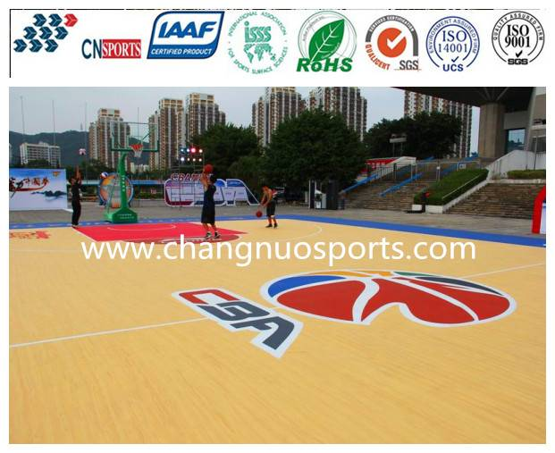 Wooden Texture Basketball Court Flooring