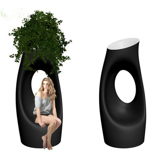Outdoor Landscape Creative Tree Hole Fiberglass Planter Outdoor Landscape Creative Tree Hole Fiberg
