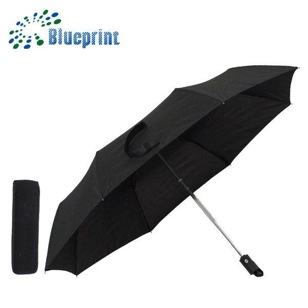 solid black automatic 3 folding gift umbrella