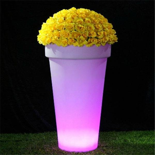 LED planter with glowing lights