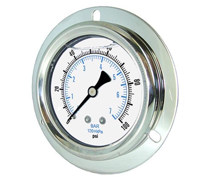 oil-filled pressure gauge with front flange