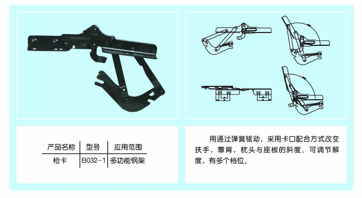 Cheapest adjustable functional furniture sofa fitting hinge B032-3
