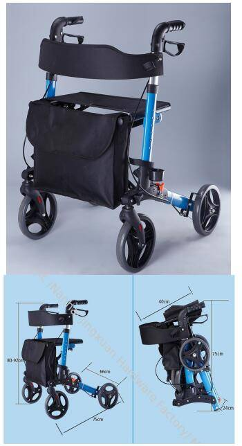 9102 Foldable Rollator Mobility Walking Aids with Ergonomic handles for walking outside