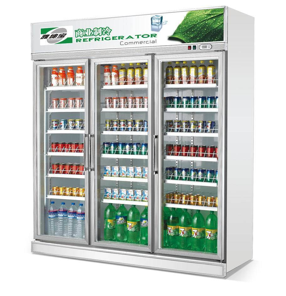Three glass doors beverage display showcase refrigerator cabinet