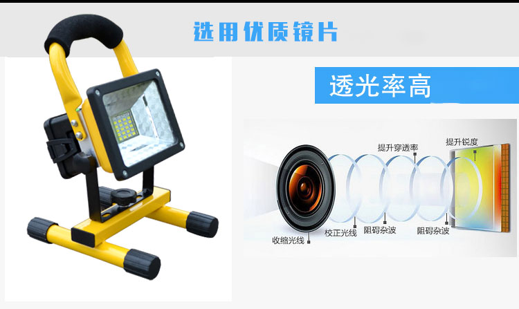 18650 rechargeable Floodlight 30W 24 led Flood light Waterproof Outdoor lights with charger By 18650