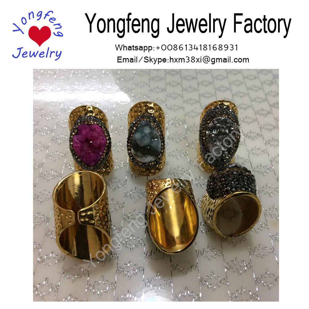 wholsale 24K gold plated druzy ring,paved rhinestone Bohemian Jewelry U56.9mm/dia:18.1mm