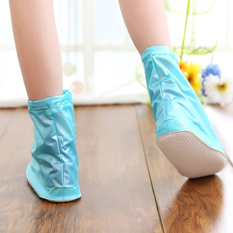 Cyan Pretty PVC Ankle Boots Rain Shoe Cover