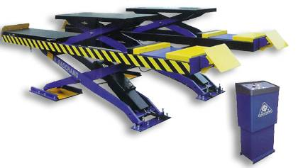 Double-level platform scissor lift suitable for four wheel alignment