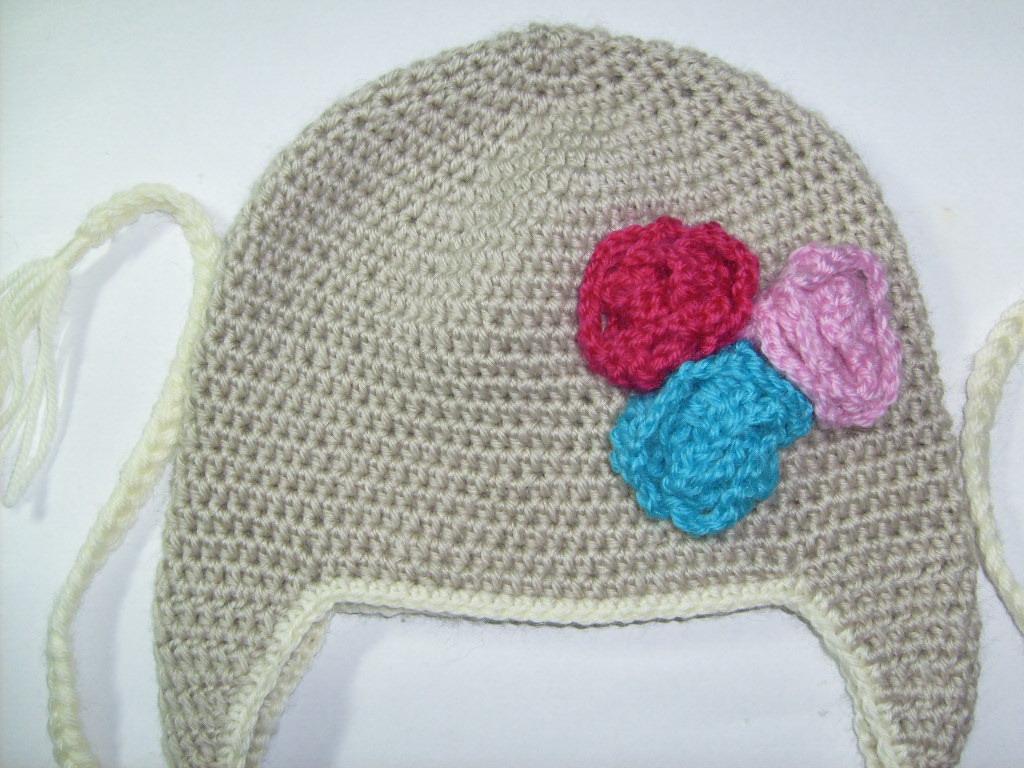 hand crochet flower beanie for girls