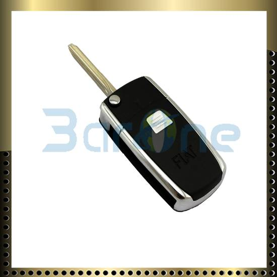 1 Button car key shell with shiny edge and folding keyblank for Fiat