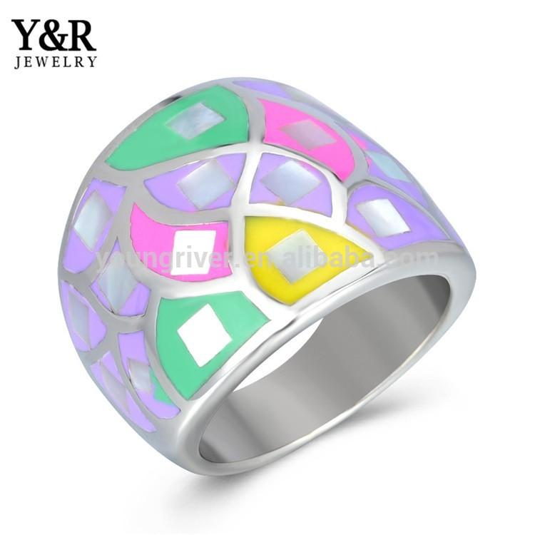 latest finger ring designs womens stainless steel enamel finger ring