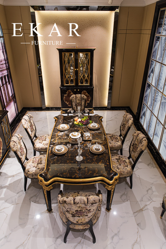 Foshan Long Royal Large Imported Marble Top Dining Table With 6 Chairs