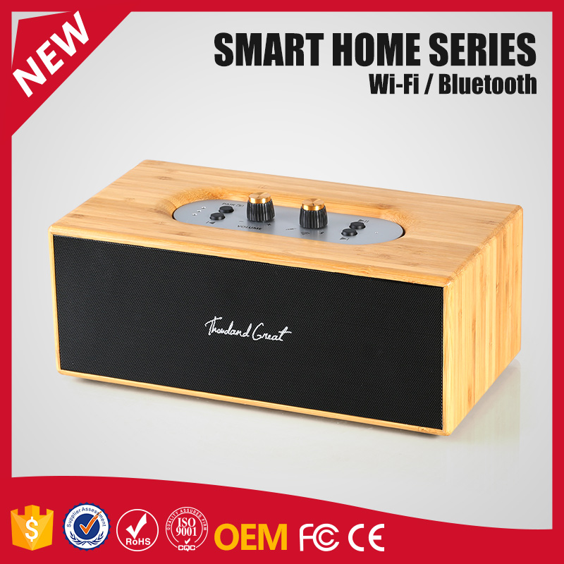 Portable mini Bluetooth speaker, electric hot wooden LED Bluetooth speaker from China