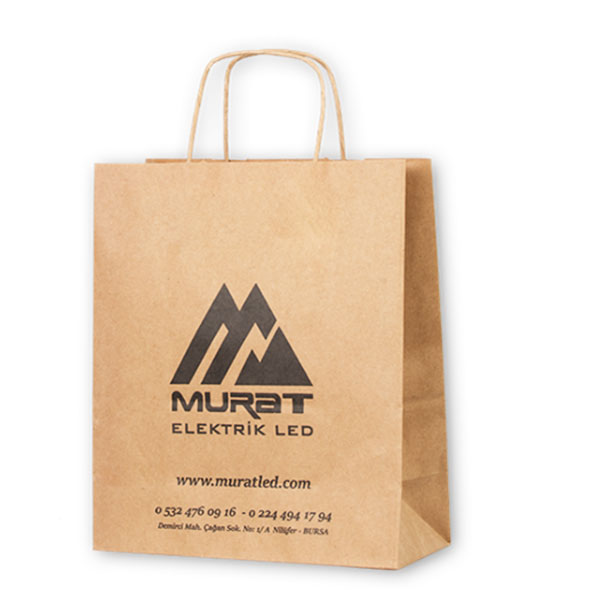 Promotional kraft gift bags with handle