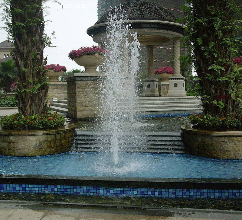 Pool Fountain With Colorful LED Lamps