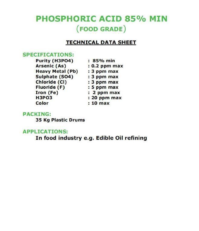 PHOSPHORIC ACID 85%MIN FOOD GRADE