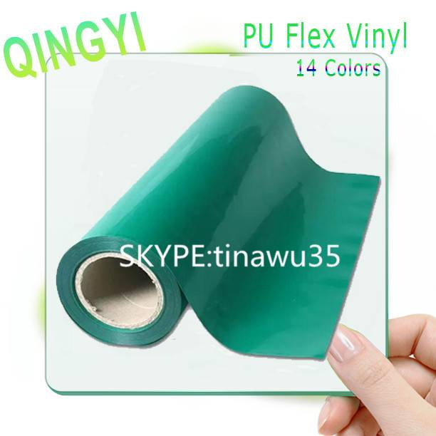 Factory wholesale soft green PU  heat transfer vinyl for t-shirt