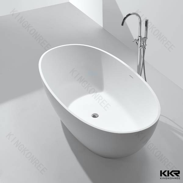 High-end Artificial stone Rectangle free standing bathtub round