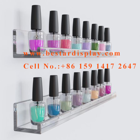 Wall mount Plexiglass PMMA acrylic nail polish display holder