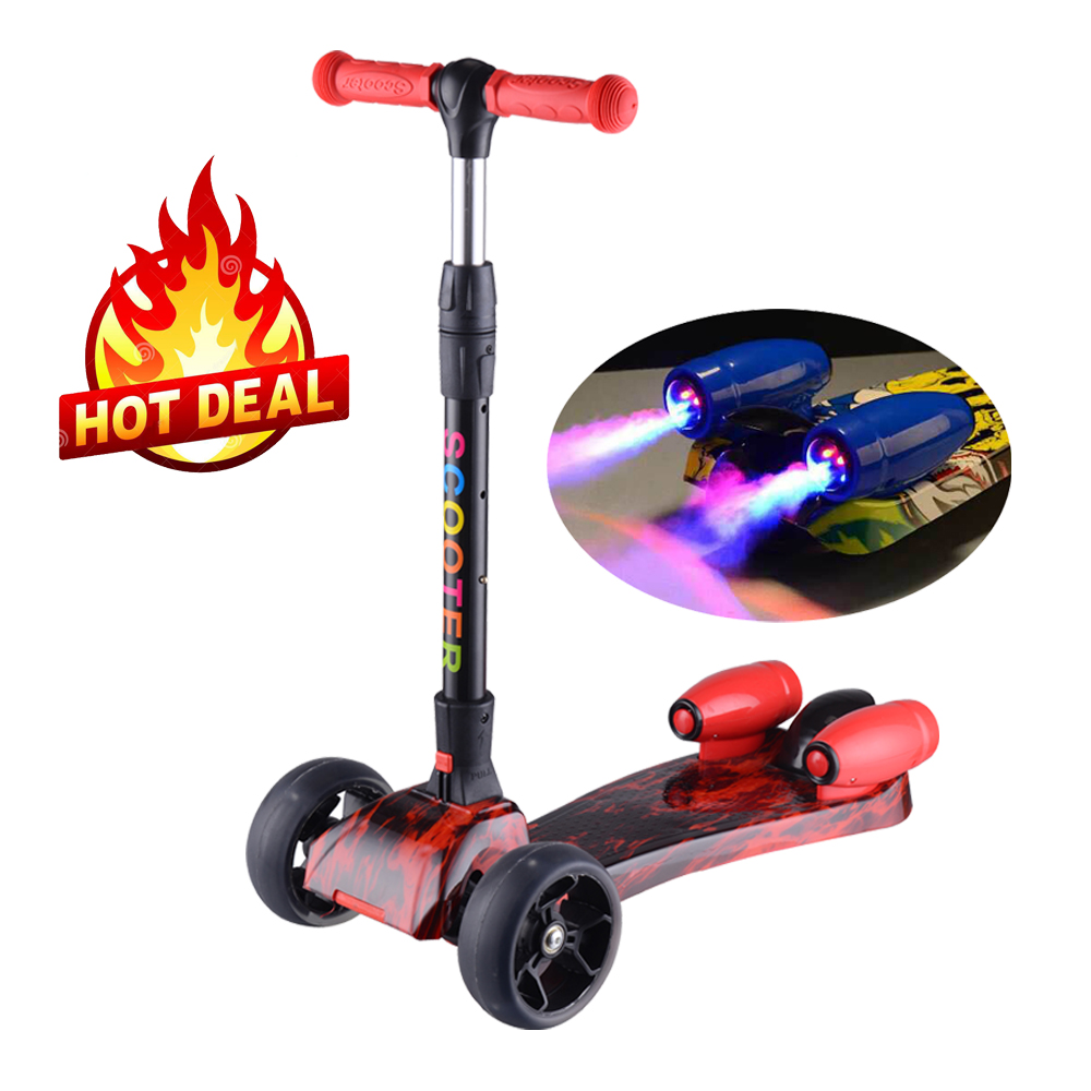 hot selling folding kids scooter with jet spray and music