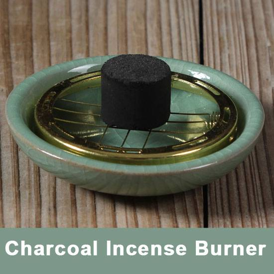 Small Decorated Charcoal Screen Ceramic Incense Burner 7cm Aromatherapy Plate for Burning frankincen