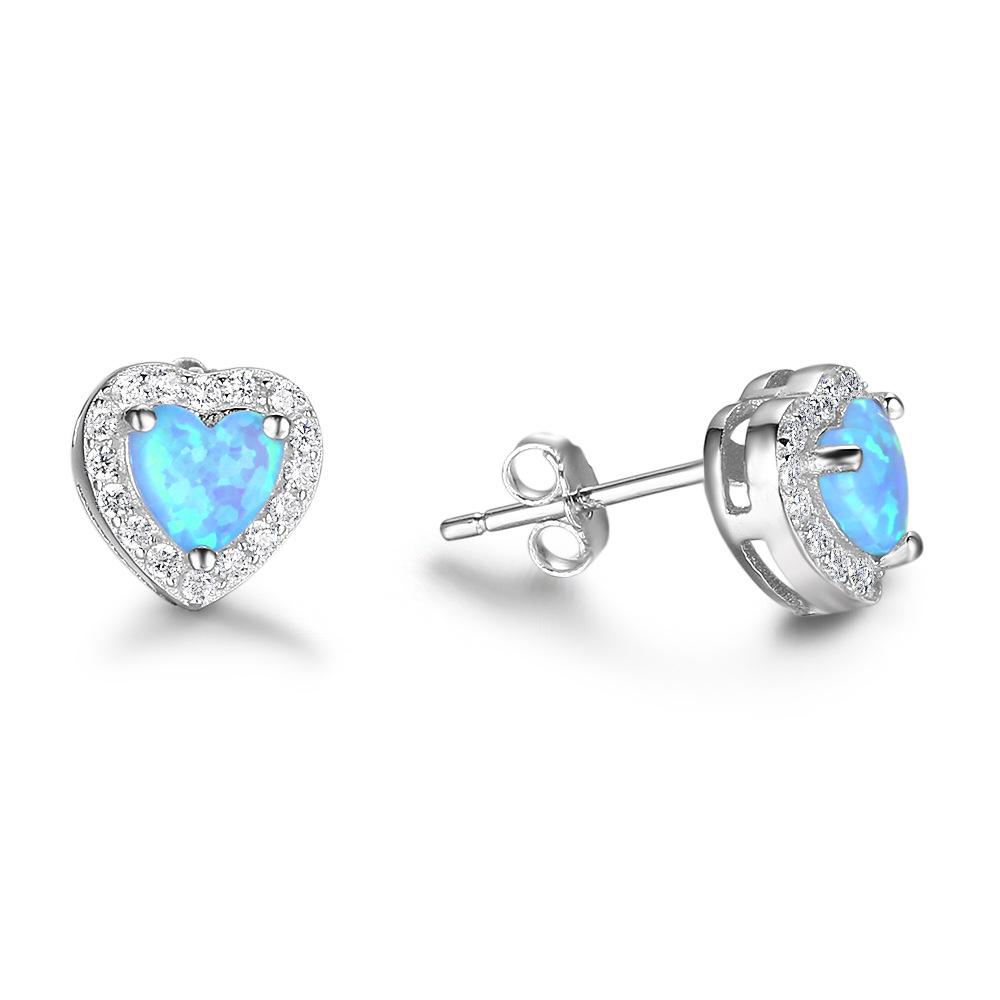Fashion Hearts Blue Created Opal Sterling Silver Earrings