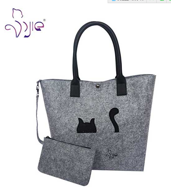 Fashion Women Felt Cat Pattern Ladies Bag Tote with Handle