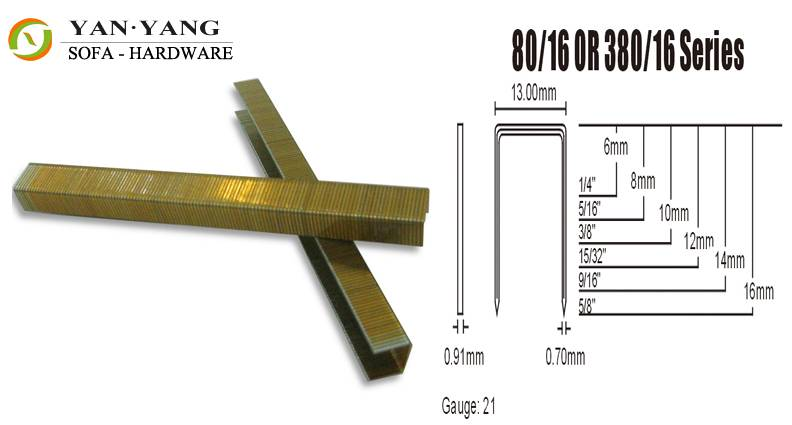 8016 series golden color furniture staples sofa staples mattress clips spring clips