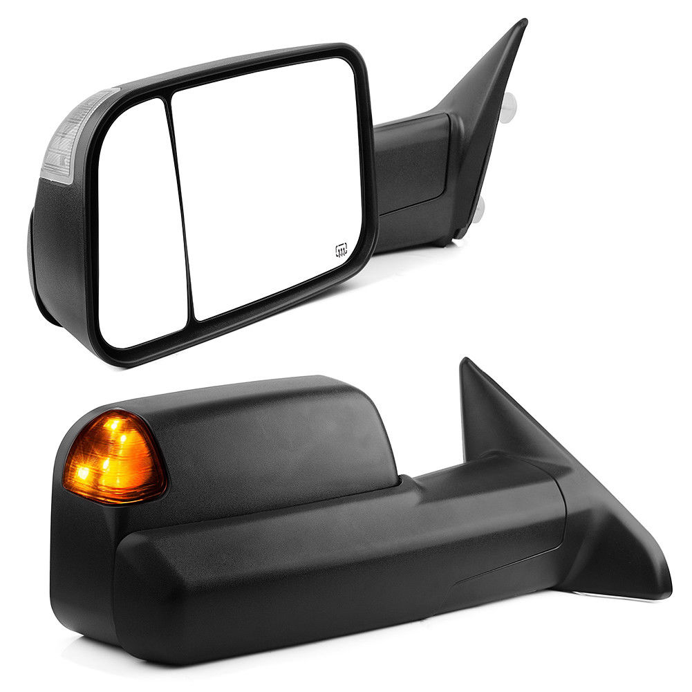 Pair for 2009-2015 Dodge Ram Pickup Power Heated Puddle Turn Signal Tow Mirrors