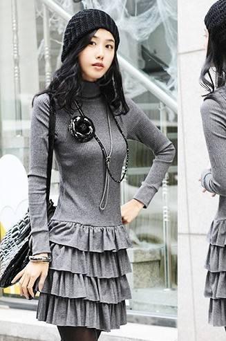 lady popular Layer Style Grey knit Dress