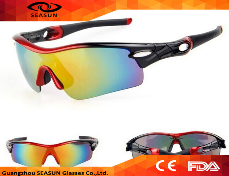 Vintage One Piece Coating UV400 Lens Cycling Glasses CE Custom branded PC Outdoor Sport Sunglasses