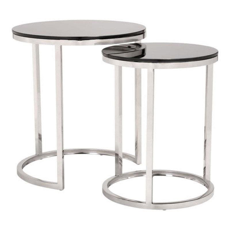 Stainless steel nesting tables for living room or bedroom decor