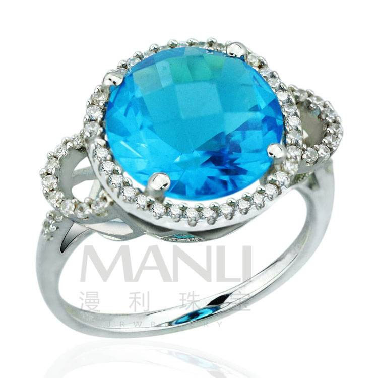 2015 Manli Fashion Hot selling female Round-shaped natural sapphire 925 Sterling Silver Ring