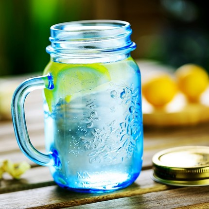 475ML Mason Jar with blue painting for ice drinking