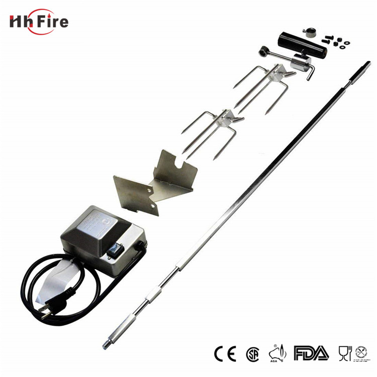 Universal Rotisserie Kit For Use With Burner Grills Square Spit Rod Electric Motor